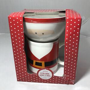 Christmas Holiday Ceramic Bowl And Mug Set Of 2 Santa New