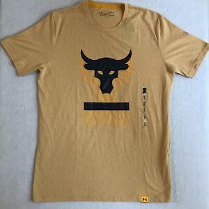 UA Men Medium Project Rock Above The Bar Short Sleeve T-Shirt Yellow 1345811-773