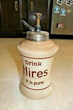1920's Antique Hires Root Beer Syrup Dispenser Jar W/ Original Syrup Pump