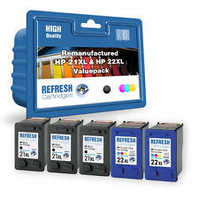 REFRESH CARTRIDGES 5 PACK OF 21 & 22 INK COMPATIBLE WITH HP PRINTERS