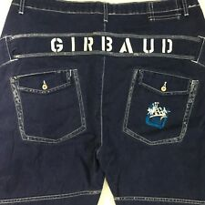 Le Jean De Marithe Francois Girbaud Spell Out Back Long Blue Denim Shorts Men 40