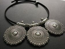 BLACK Suede CHOKER Necklace With A Large Statement Ethnic Discs Pendant Boho