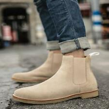Chelsea Boots Pull On Winter Ankle Boots Mens Suede Leather Oxford Shoes