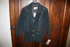 NWT ATLANTIC BEACH LEATHER WOMEN black tassels gold buttons Suede JACKET Sz L XL