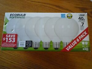 6 Pack of Feit Electric EcoBulb SoftWhite Globe Shape CFL 40W Equivalent for 11W