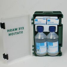 Blue Dot Medical Emergency Eye Wash Station First Aid Kit Wall Bracket 2x 500ml