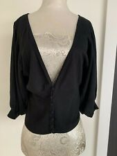 M&S Collection Black Cropped Cardigan - Size 14 - On Trend Puffed Sleeves