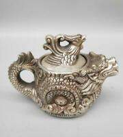 Chinese antique white copper dragon and phoenix teapot crafts statue