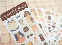 Dolly Girl PAPER DOLL MATE Dress Up Stickers Kawaii Vintage Stationery 6 sheets