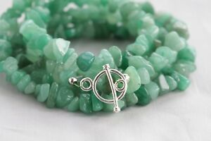 "GREEN AVENTURINE LONG LINE NECKLACE 36"" LENGTH"