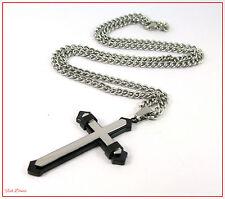 5.5cm acciaio inox e nero Crocifisso/Croce pendente a sulla collana catena 60cm.