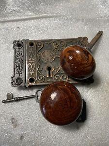 Antique Shapleigh Hardware Rim Lock with Bennington Knobs, Striker and Key