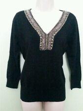 NWT August Silk Black  Beaded V neck 3/4 Sleeve Sz MEDIUM Women Sweater  Top