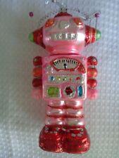 """Pink Girl Robot Christmas Ornament 5"""" tall glass blown silver thread glitter"""