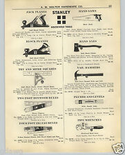 1926 PAPER AD 2 Sided Stanley Tools Plane Axe Saw Hammer Wrenches Chisels