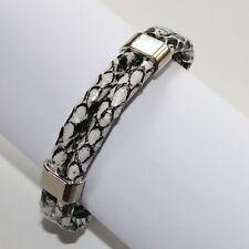 Armband Damen Leder Optik Armschmuck Schlangenleder Look Schwarz Weiß 1