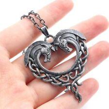 Pendentif Coeur Cheval Chevaux Fantasy Antique Gothique Goth Collier Equestre
