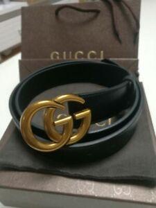 Unisex GG Buckle Gucci black Men & Women Belt 110cm
