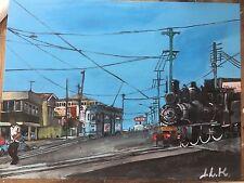 Brisbane Four Motor Tram Number 528-original 40.5 cm x 30.5 cm acrylic painting