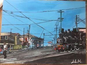 1960s Brisbane FM Tram 528-original 40.5 cm x 30.5 cm acrylic painting