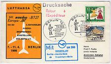 1966 Berlino STAMPATI RITORNO Lufthansa LH 280 Amsterdam Boeing b727 Europa JET