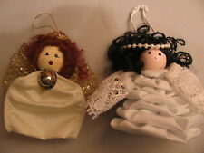 """2 Angel Christmas Ornaments 3-1/2"""" tall Pure Holy White"""