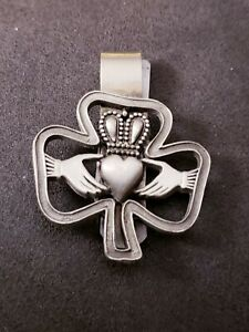 Vintage Irish Claddagh Money Clip Brushed Stainless Steel Pewter