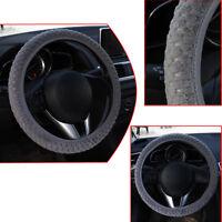 Soft Steering Wheel Cover Fuzzy Wool Velvet Car Auto Winter Warmer Set 38cm Grey
