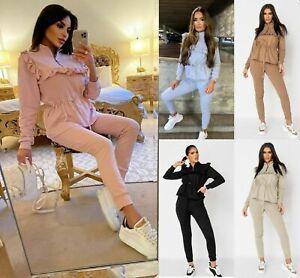 Women's Zip Frill Peplum Tie Up Loungewear New Tracksuit 2 psc Ladies Co-ord Set