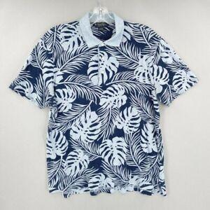 Brooks Brothers Polo Shirt Mens L Original Fit Blue Short Sleeve Linen Cotton