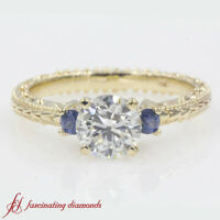 1 Ct. Sapphire 3 Stone Engraved Engagement Ring With Round Cut Diamond In Center