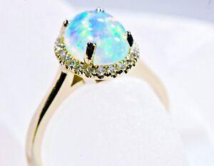 REAL 14KT. Gold Opal Diamond Halo Ring Bridal Elegant Bridal Wedding White Gold
