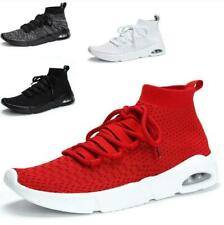 Mens Mesh Running Sneakers Breathable Outdoor Sports Sock Trainer High Top Shoes