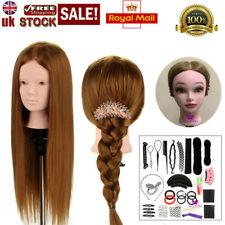 Makeup 24'' 100% Real Human Hair Training Head Mannequin Doll Clamp&Braid Set UK
