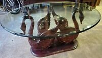 Carved Cherry Wood SWAN Dining Room Table Lead Glass Top 4'x 5' Large Oval Ducks