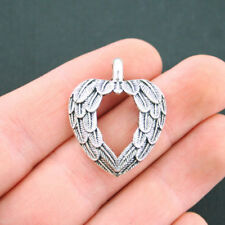 5 Angel Wings Heart Charms Antique Silver Tone with Beautiful Details - SC5036