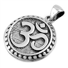 Plain OM Sign .925 Sterling Silver Pendant