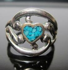 925 Sterling Silver Turquoise Heart Band Ring SZ.4  WT.2.3