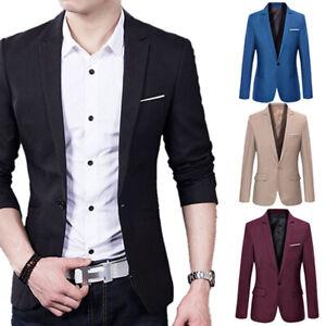 Men's Casual Slim-Fit Formal Business One Button Suit Blazer Coat Jacket Top UK