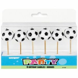 Football Birthday Candles x 6 Partyware Children's Party Cake Topper Tableware