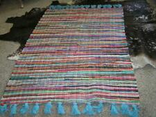 Indian Denim & cotton braided Runner RAG rug braided woven with Tassels 45 x 72