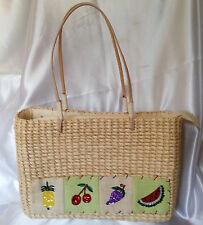Straw Handbag Sequin Fruit Beach Vacation Cruise Zip Top