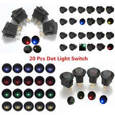Autos Boat 20 Pcs LED Dot Light 12V Universal Round Rocker ON/OFF Toggle Switch
