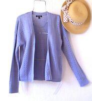 New~$98~Sky Blue Linen Cardigan Sweater Layering Boho Top~Size Medium M