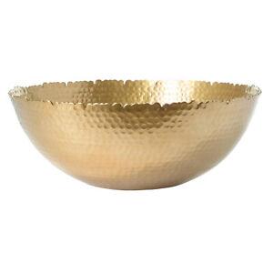 Large Decorative Antique Tabletop Gold Textured Centerpiece Round Serving Bowl