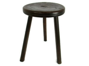Antique Hand Carved wood Tripod Milking Stool Pedestal Table Pedestal Barn Style