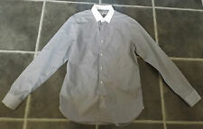 "MENS REISS M 15½"" NECK BLACK & WHITE PIN STRIPE 100% COTTON SHIRT CHEST 38"" 97cm"