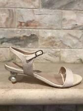 NIB Chanel 17C Dark White Beige CC Ankle Strap Sandal Pearl Heel Pump 40 $975