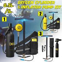 DIDEEP 0.5/1L Scuba Tank Diving Oxygen Cylinder Dive Reserve & Inflator Pump Kit