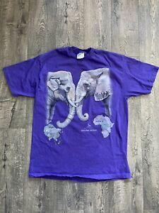 Vintage 1992 Harlequin Elephants Nature Tee Shirt Size Large Liquid Blue Africa